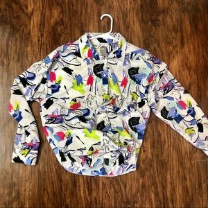 ASOS abstract color splatter oversized blouse